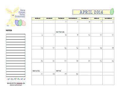 Blank Monthly Calendar April 2014 Dated april 2014 calendar