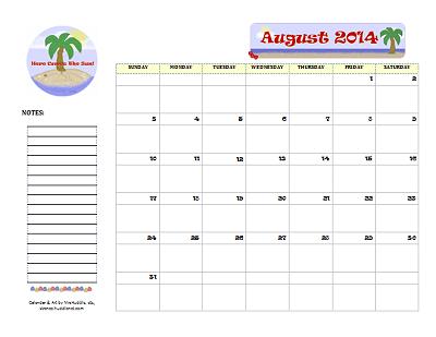 Dated August 2014 Calendar