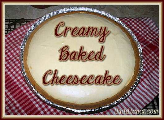 Creamy Baked Cheesecake makes an extra large pie. It is well worth taking the extra step of baking for a delicious dessert.