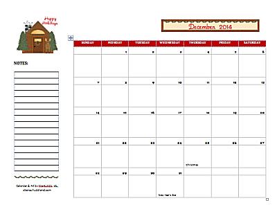 Dated December 2014 Calendar