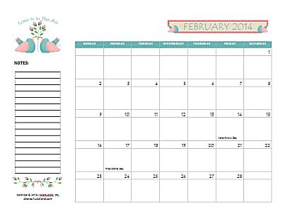 Dated February 2014 Calendar