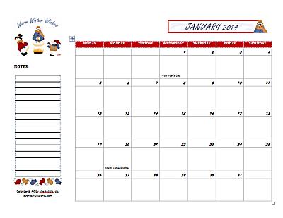Dated January 2014 Calendar