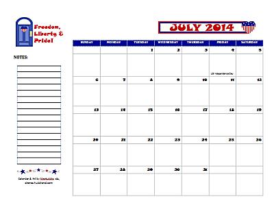 Dated July 2014 Calendar