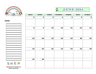 Dated June 2014 Calendar