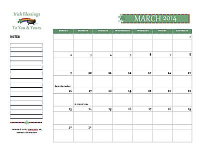 Dated March 2014 Calendar
