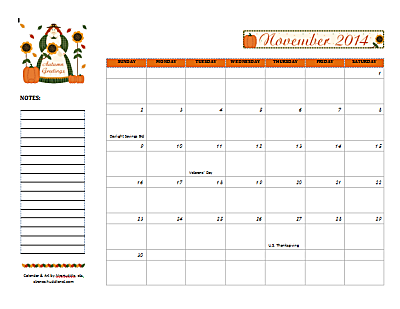 Dated November 2014 Calendar