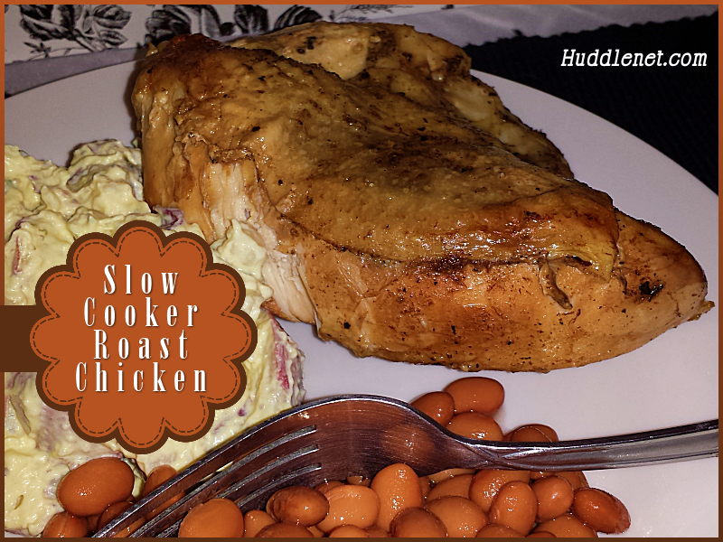 Slow Cooker Roast Chicken - Finger licking and lick smacking good! It's amazingly tender & moist and cooks while you go about your day. #recipes #chicken #crockpot
