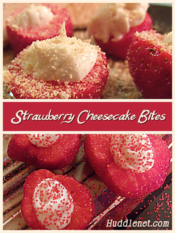 Strawberry Cheesecake Bites are an easy treat that tastes decadent. Your spouse, kids and friends will loves these delicious morsels!