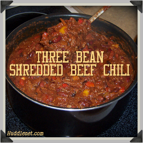 Three Bean Shredded Beef Chili is an award winning chili. It takes time to properly make but is well worth the effort.