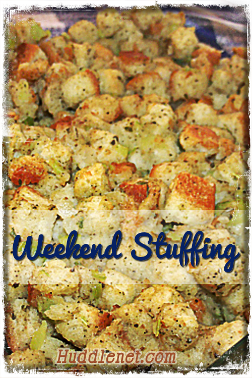 Weekend Stuffing is perfect for Sunday Dinner or anytime. It uses just the right blend of seasoning, is perfectly moist on the inside & crusty on the outside. huddlenet.com