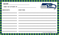 Seattle Seahawks 3x5 Recipe Card